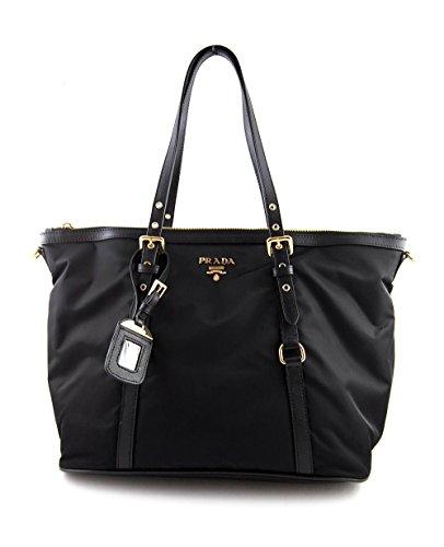 Prada Tessuto Saffian Nylon and Leather Shopping Tote Bag BR4253, Black / Nero