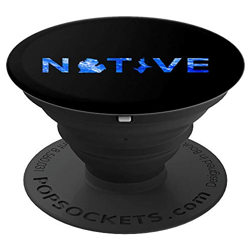 Native Michigander Michigan Mitten State Great Lakes Mobile - PopSockets Grip and Stand for Phones and Tablets