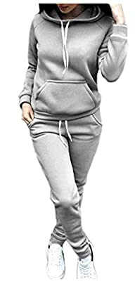 SUKIYAKI Women Jogger Outfit Matching Sweat Suits Long Sleeve Hooded Sweatshirt and Sweatpants 2 Piece Sports Sets
