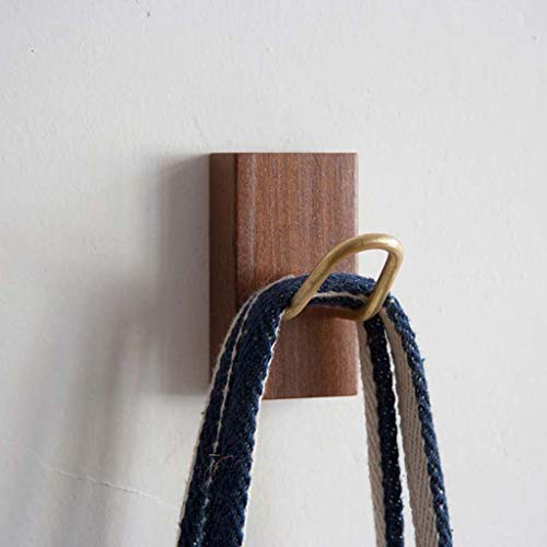 Brass Entrance Single - SMC Hook Up Nordic Solid Wood Brass Single Wall Entrance Home Storage Clothes Hook Single Stick Modern 4.5X8CM (Color : Nail-Free)
