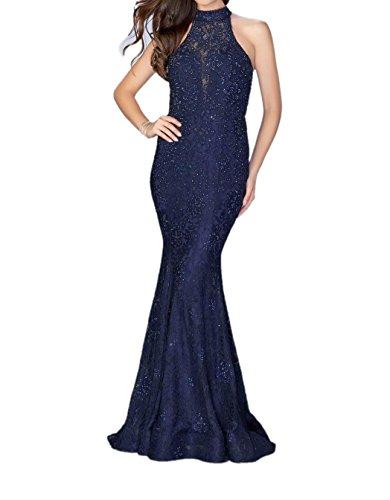 La_Marie Braut Navy Blau Spitze Etuikleider Abendkleider Ballkleider Figurbetont Meerjungfrau Lang Rock