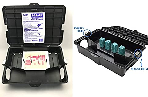 NEW! PEST BAIT STATION WITH MAGNETIC MOUNTING ALSO INCLUDED INTERNAL GLUE BOARD TRAPS OR USE POISON BLOCKS (POISON NOT INCLUDED) HEAVY DUTY LOCKING PET & KID SAFE Reusable Rodents Mice Rat (Gopher Poison Machine)