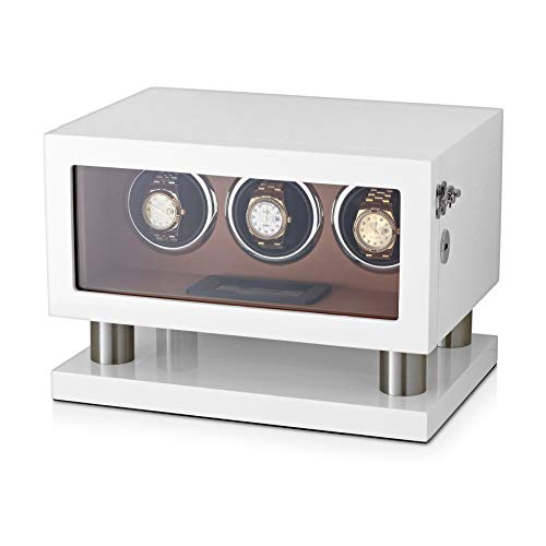 - Watch Winder Box for 3 Watches with LED Backlight, LCD Display and Motor-Stop Option (White & Brown)
