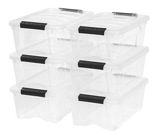 IRIS USA, Inc. TB-42 12 Quart Stack & Pull Box, Clear, 6 Stack and -