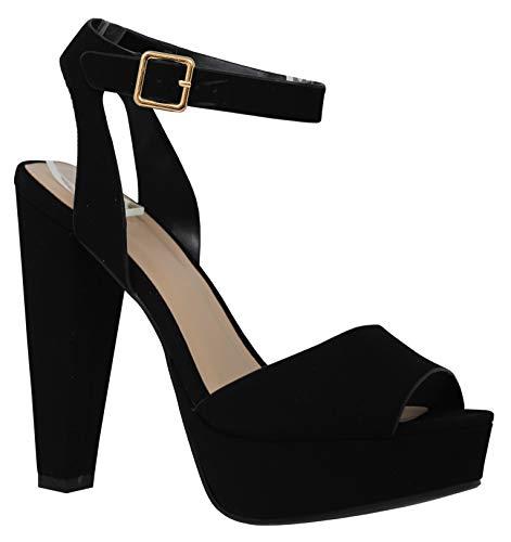 MVE Shoes Women's Open Ankle/Toe Fashion Summer Chunky Heeled Sandal, PURIFY BLK NBPU ()
