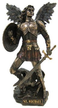 2 Angel Statues - Archangel Saint Michael Statue Real Bronze Powder Cast Sculpture 12 ½-inch