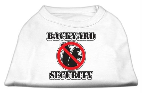 Mirage Pet Products 14-Inch Backyard Security Screen Print Shirts, Large, White