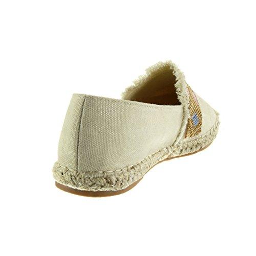 Angkorly - Chaussure Mode Espadrille Mocassin slip-on femme perle brodé corde Talon plat 1.5 CM - Beige