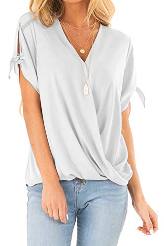 - Allimy Women Summer Casual High Low Cold Shoulder V Neck Tops Short Sleeve Tie Chiffon Blouses XL White