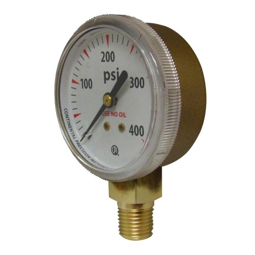 Uniweld G8S Gauge with 0-600 PSI and 1//4-Inch NPT Bottom Mount Gold Steel Case 2-Inch