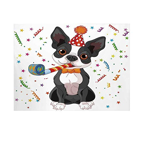 - Birthday Decorations for Kids Photography Background,Black and White Boston Terrier with Colorful Party Backdrop Backdrop for Studio,15x10ft