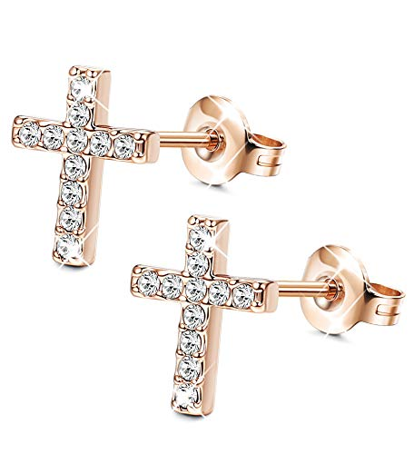 Sllaiss Rosa Gold Earring Earrings Cross Stud Earrings for Women Men Mini Cross Stud Earring Sets Made with Swarovski Crystals