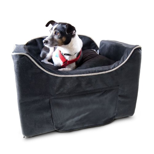 Snoozer Luxury Lookout Pet Car Seat, Medium Luxury II, Black with Herringbone by Snoozer