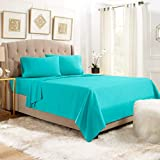 Empyrean Bedding 14' - 16' Deep Pocket Fitted Sheet 4 Piece Set - Hotel Luxury Soft Double Brushed Microfiber Top Sheet - Wrinkle Free Fitted Bed Sheet, Flat Sheet and 2 Pillow Cases - Queen, Teal