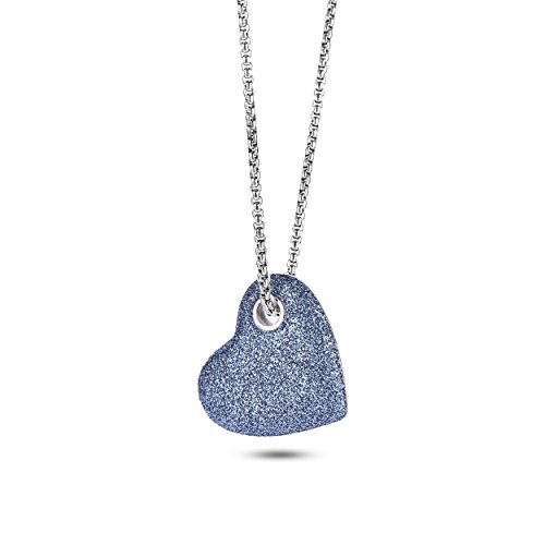 316l Stainless Steel Heart - NanoStyle 316L Stainless Steel Heart Necklace Blue Mineral Stardust Love Pendant for Women, 19.7