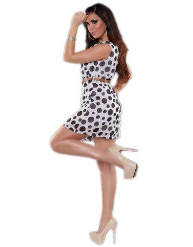 KouCla - Vestido - Estuche - Lunares - Sin mangas - para mujer blanco