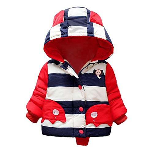 Dsood Children Kids Winter Cartoon Warm Patchwork Color Zipper Jacket Hooded Coat Navy