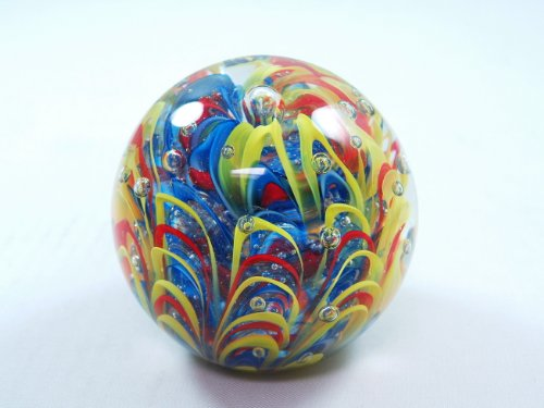 Murano Design Mouth Blown Blue Swirl Bubble Handmade Art Glass Paperweight Pw-011