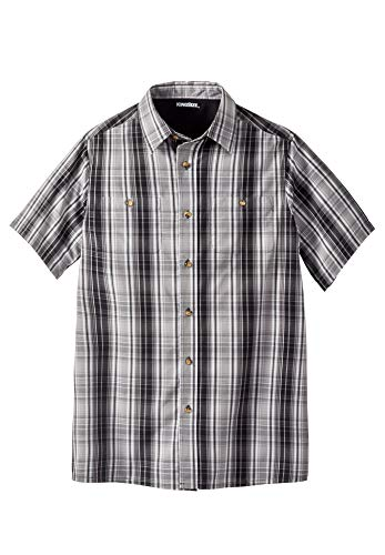 Button Down Plaid Sport Shirt - KingSize Men's Big & Tall Short-Sleeve Plaid Sport Shirt, Black Plaid Big-5XL