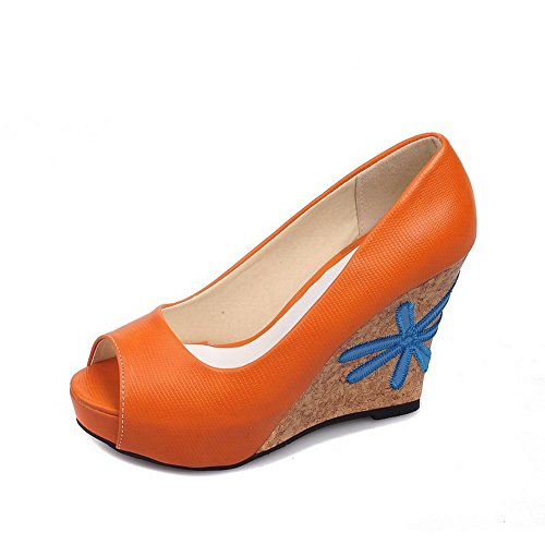 Amoonyfashion Kvinners Høye Hæler Fast Pull-on Mykt Materiale Titte-sandaler Orange