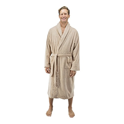 Comfy Robes Personalized Men's 16 oz. Turkish Terry Cotton Bathrobe, XXL Beige by Comfy Robes