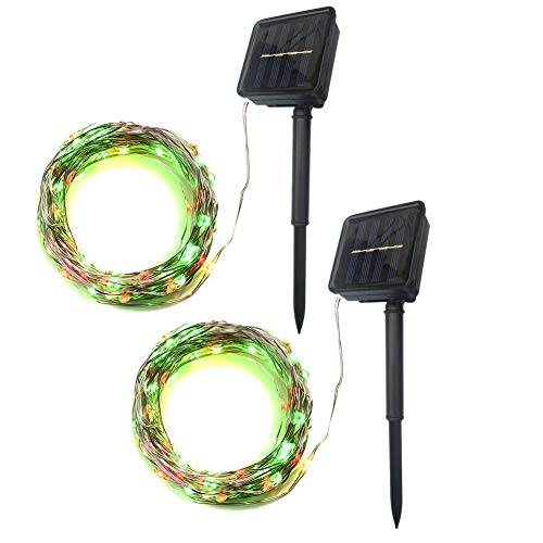 (Abba Patio Solar String Lights, 32ft 100LED Outdoor String Lights 8 Modes, Waterproof Decorative String Lights for Patio, Garden, Gate, Yard, Party, Wedding, Red & Green, Set of 2)