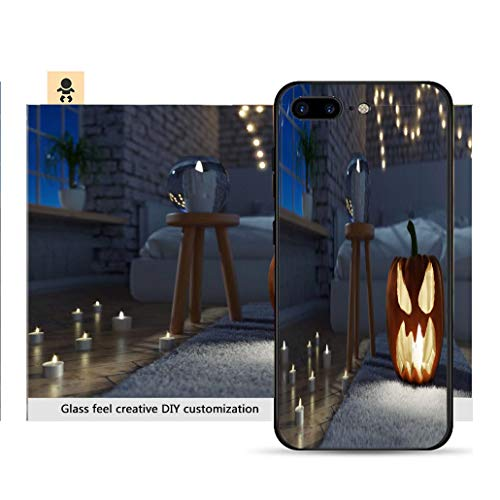- iPhone 7p / 8p Ultra-Thin Phone case 3D Rendering of Illuminated Jack o Lantern Standing on Rug Sofa in Modern Brick Bedroom at Night Resistance to Falling, Non-Slip, Soft, Convenient Protective case