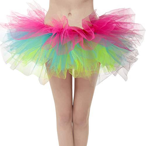 Dresstore Women's Vintage 5 Layered Tulle Tutu Puffy Ballet Bubble Skirt Z-Rainbow Plus -