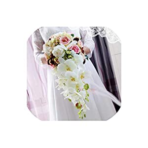 Waterfall White Wedding Flowers Bridal Bouquets Artificial Wedding Bouquets Rose 2