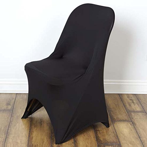 - Efavormart 10PCS Stretchy Spandex Fitted Folding Chair Cover Dinning Event Slipcover for Wedding Party Banquet Catering - Black