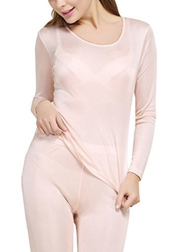 (Fashion Silk Women's Thermal Underwear Sets Mulberry Silk Crewneck Long Johns For Women Base Layer (Medium, Fleshcolor))