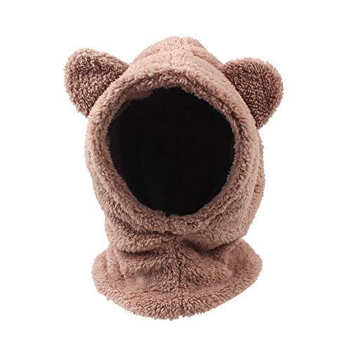 Baby Girls Boys Winter Warm Scarf Hat Kids Thick Earflap Hood Cap with Ear 6M-4T (Khaki, 2-4T)