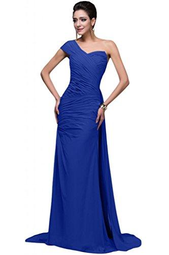 sunvary gasa vestidos de parte trasera abierta arreglo para el hombro One Pageant vestidos de fiesta azul real