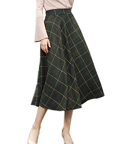 (Medeshe Women's Classic Wool Maxi Skirt Long Skirt Winter Skirt (Waist-66.5cm/26.1 inches, Army Green Plaid))