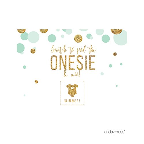 Andaz Press Mint Green Gold Glitter Boy Baby Shower Party Collection, Games, Activities, Decorations, Scratch Off Winner Game Cards, 30-Pack