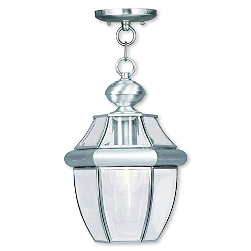 Livex Lighting 2152-91 Monterey 1-Light Outdoor Hanging Lantern, Brushed Nickel