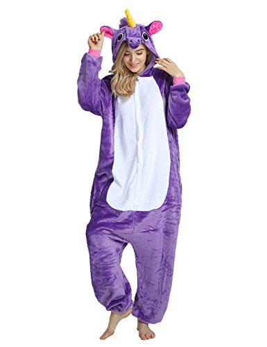 Unicorn Costume, Adult Onesie Unicorn Cosplay Animal Pajamas Christmas Kigurumi Unisex (S (height 58.9