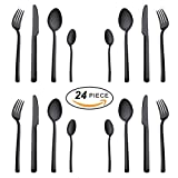 Black Silverware Set, Onlycooker 18/10 Stainless Steel 24-Pieces Flatware Cutlery Utensils Dinnerware Service for 6 Include Knife Fork Spoon for Kitchen Home Dishwasher Safe (Mirror Finish)