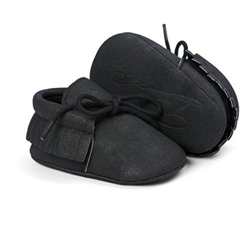 Zapatos de bebé,Tongshi Bebé Cuna Borlas Vendaje Suave único Niño Zapatillas Casual Zapatos Negro