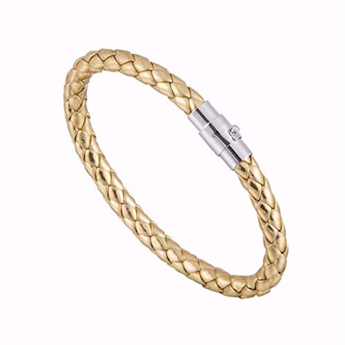 Wrist Decoration Simple Colorful Magnetic Bracelets for Ladies Men Braided Leather Bracelet Stainless Buckle Charm Bangle Jewellery ()