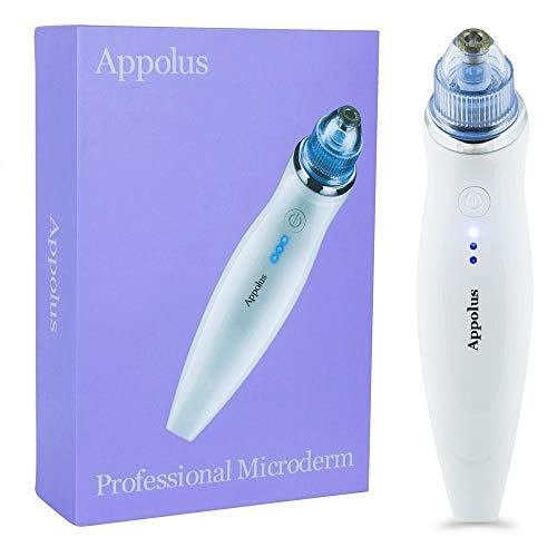 Microdermabrasion Machine - Appolus Premium Diamond Microdermabrasion Kit Device For Flawless Lifted Skin - 2 Diamond Tips - 5 Heads - Blackhead Remover Vacuum Tool