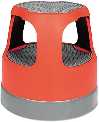 Scooter Stool Round, 15 , Step Lock Wheels, to 300 lbs, Red