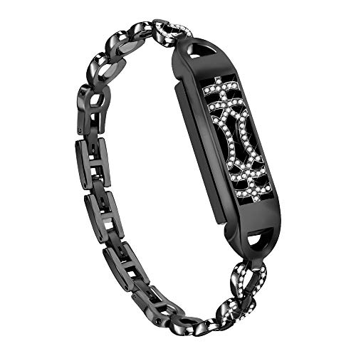 for Fitbit Flex 2 Bands Women Girls,salaheiyodd Adjustable Replacement Metal Magnetic Bangle Newest Unique Adsorption Switch Design Wristband with Diamond for Fitbit Flex 2 (Black)