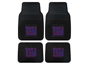 nfl new york giants car floor mats heavy duty 4 piece vinyl front and rear automotive. Black Bedroom Furniture Sets. Home Design Ideas