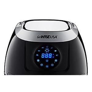 GoWISE USA GW22631 4th Generation XL Electric Air Fryer w/ Touch Screen Technology, Button Guard & Detachable Basket - Black 5.8 QT, 1800W