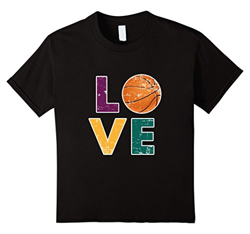 Kids I Love Basketball T-Shirt Gift for Players Parents Coaches 12 Black