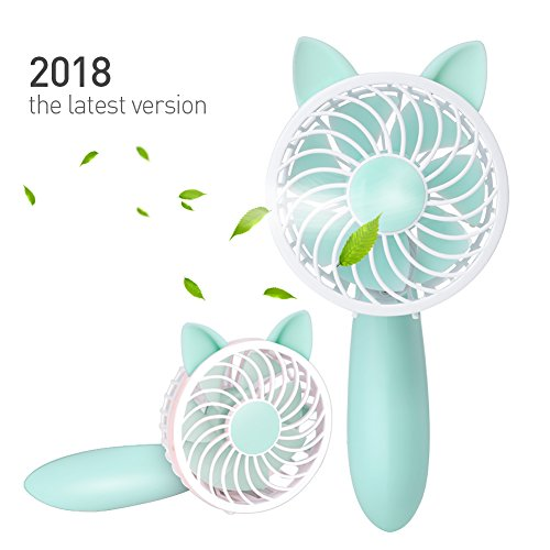 Rechargeable Handheld Fan with 7 Blades and 3 Power Settings Portable for Women Men Kids Light Green by RioRand