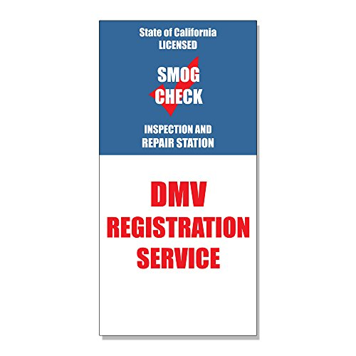 Dmv Registration Service Smog Check Inspection DECAL STICKER Retail Store Sign - 19.5 x 48 inches from Fastasticdeals