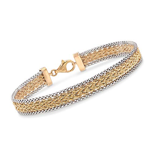 Ross-Simons 14kt Two-Tone Gold Popcorn and Rope Chain Bracelet ()