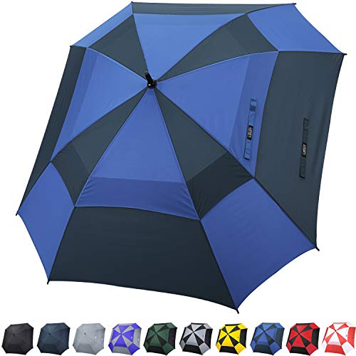 G4Free Extra Large Golf Umbrella Double Canopy Vented Square Umbrella Windproof Automatic Open 62 Inch Oversize Stick Umbrella for Men Women(Royal Blue/Navy)